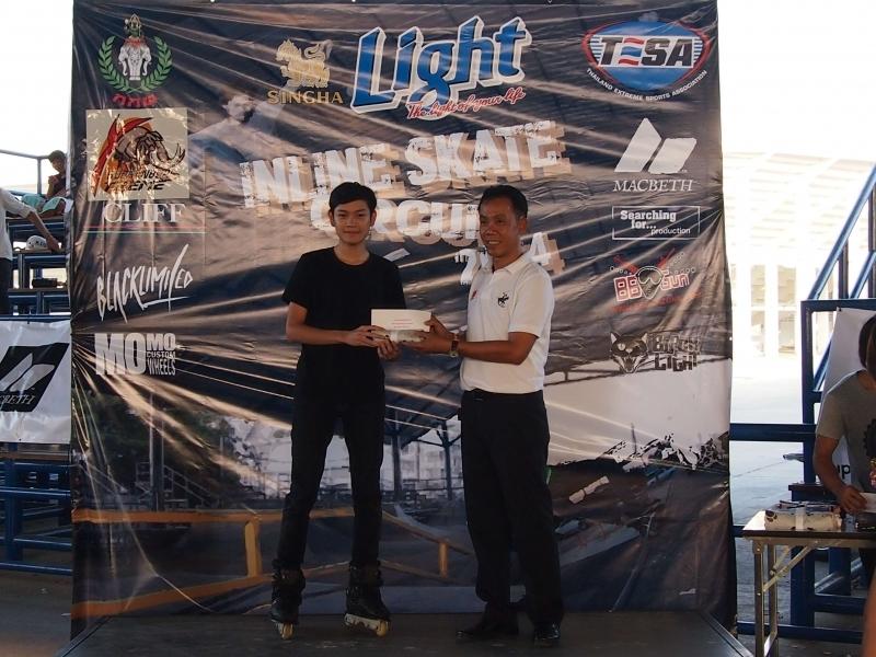 ภาพรับรางวัล Singha Light Inline skate Circuit 2014